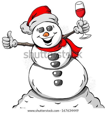 Cartoon illustration of a Celebrating Snowman