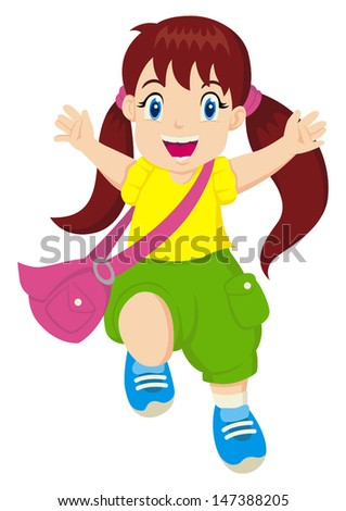 Cartoon illustration of a cheerful little girl - stock vector