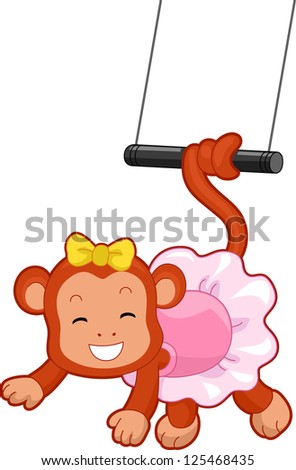 Cartoon Illustration of a Circus Monkey with tail coiled on a flying trapeze