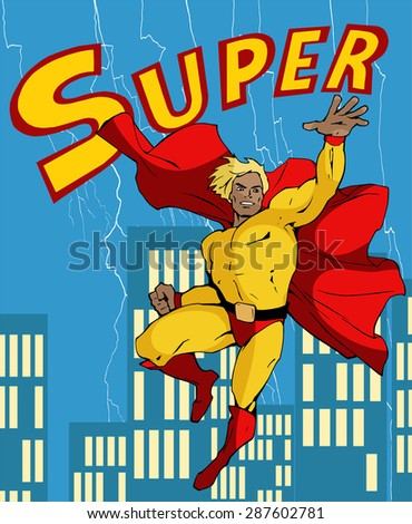 Cartoon illustration of a classic retro flying superhero in red and yellow costume