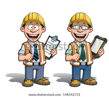 Cartoon illustration of a construction worker supervisor checking a project list.  Two versions: 1) on with a pen on a traditional pad and 2) on a tablet more hip with glasses. - stock vector