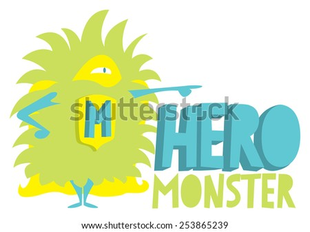 Cartoon illustration of a cute childish monster super hero standing with cape - stock vector