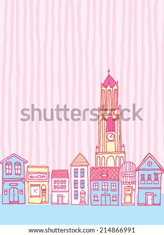Cartoon illustration of a cute colorful vintage town with clock tower - stock vector
