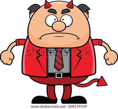 Cartoon illustration of a devil boss with a grumpy expression.  - stock vector