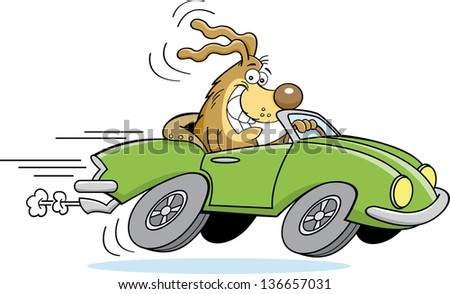 Cartoon illustration of a dog driving a car.