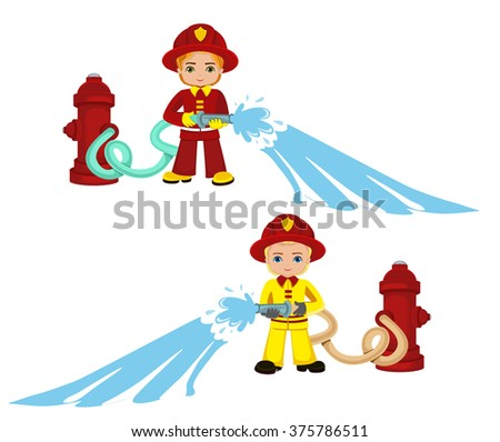 Cartoon illustration of a firefighter boy.