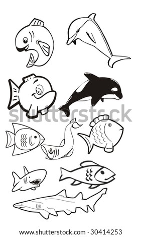 Cartoon illustration of a fish themed vector including a dolphin, a killer whale, a shark and a gold fish. Ideal for digital stamp or decal - stock vector