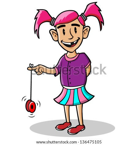 Cartoon illustration of a girl playing with yo yo. - stock vector