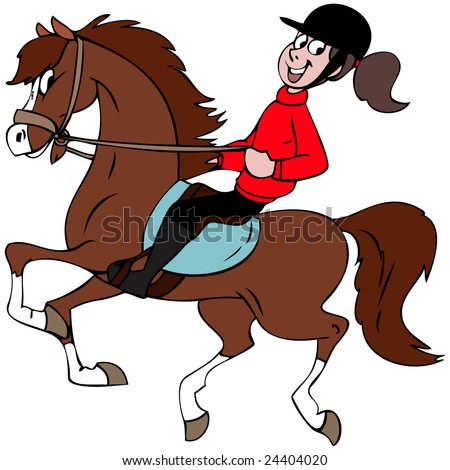 Cartoon illustration of a girl riding  her horse.