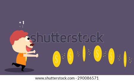 Cartoon illustration of a greedy adult man, boss, company CEO, chasing after golden coins, picking up money, get points, earn scores. Play excited funny business, economic financial cash flow game. - stock vector