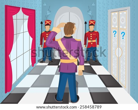 Cartoon Illustration of a hall with guards in front of the door, and a hero who is wondering what to do next. - stock vector