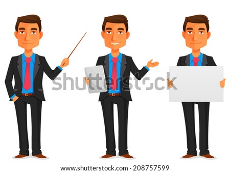 cartoon illustration of a handsome young businessman in various poses - stock vector