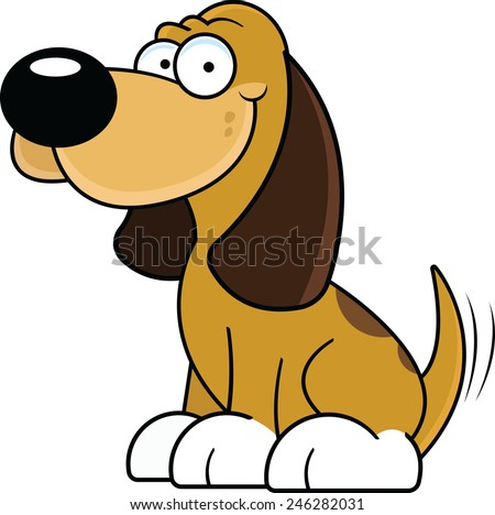 Cartoon illustration of a happy brown dog wagging his tail.  - stock vector