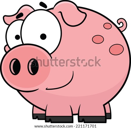 Cartoon illustration of a happy little pig.  - stock vector