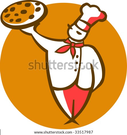 cartoon illustration of a head-cook with a pizza on a tray at white background - stock vector