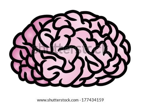 Cartoon illustration of a human brain. Eps 10 Vector. - stock vector