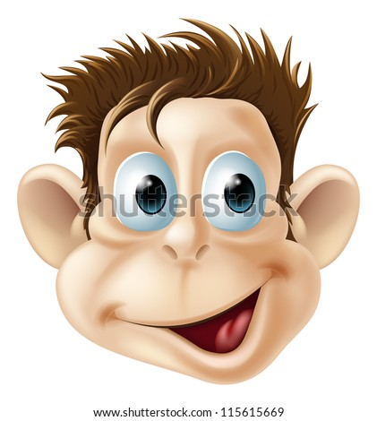Cartoon illustration of a laughing happy monkey face - stock vector