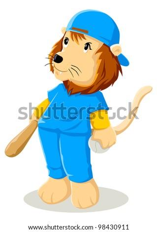 Cartoon illustration of a lion in baseball uniform - stock vector