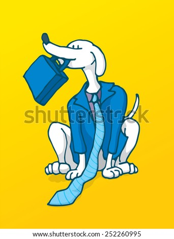 Cartoon illustration of a loyal businessman working like a dog in business costume