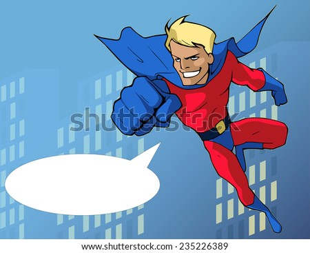 Cartoon illustration of a mighty superhero in bright costume flying forward