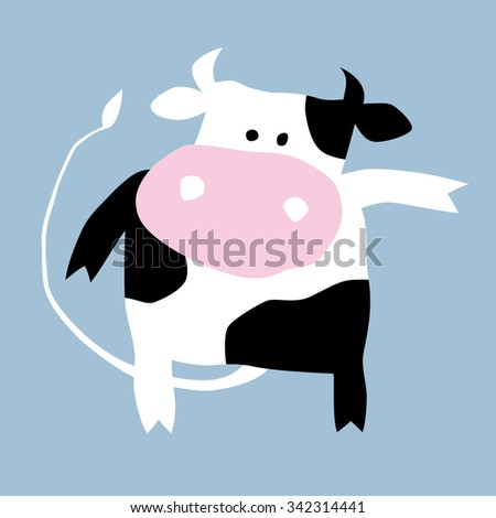 Cartoon illustration of a pretty cow. Can be easily colored and used in your design. - stock vector