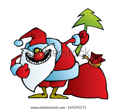 Cartoon illustration of a santa with a crazy smile. Can be easily colored and used in your design.  - stock vector