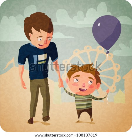 Cartoon illustration of a single father and his son at a carnival. They're holding hands and walking. The boy is holding a purple helium balloon. - stock vector
