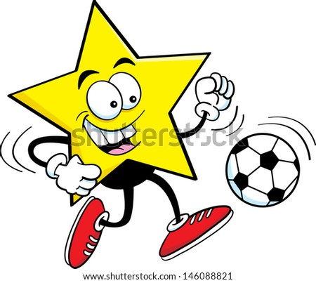 Cartoon illustration of a star playing soccer. - stock vector