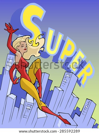 Cartoon illustration of a super hero, a beautiful girl, flying above the modern city