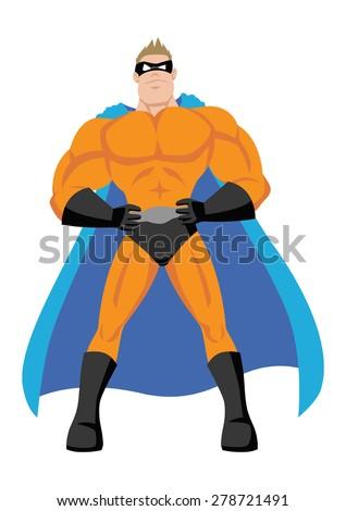 Cartoon illustration of a superhero - stock vector