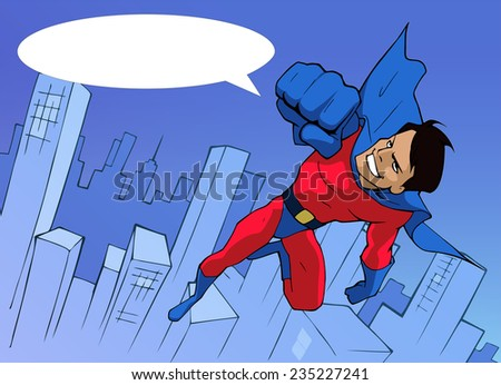 Cartoon illustration of a superhero in bright costume flying forward above the city - stock vector