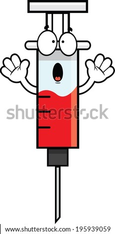 Cartoon illustration of a syringe with a scared expression.