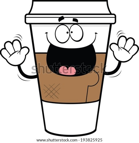 Cartoon illustration of a takeout coffee cup with a happy expression.  - stock vector