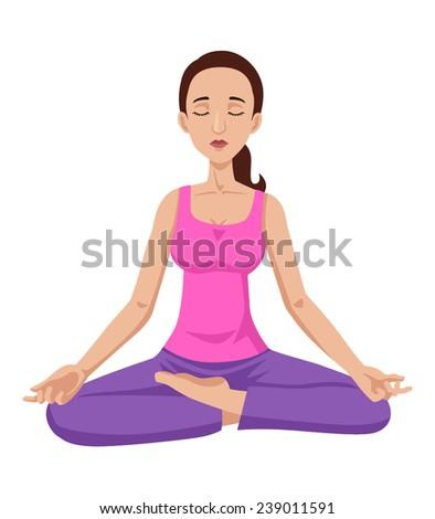Cartoon illustration of a woman meditating - stock vector