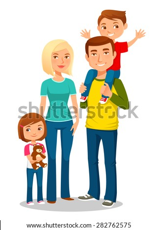 cartoon illustration of a young happy family with two kids - stock vector