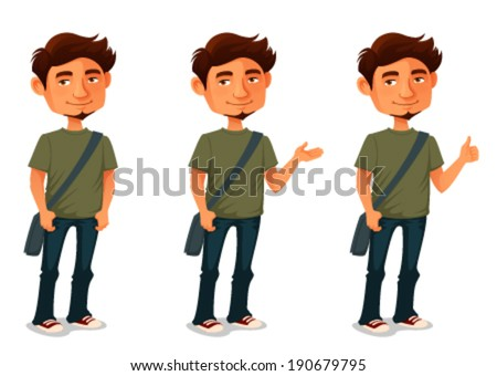 cartoon illustration of a young man in various poses - stock vector
