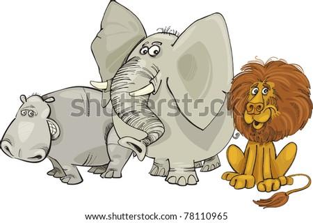 Cartoon illustration of african animals group - stock vector