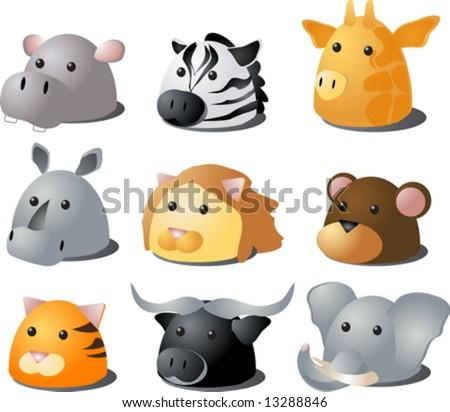 Cartoon illustration of African wild safari animals: hippo, zebra, giraffe, rhino, lion, monkey, tiger, buffalo, lion - stock vector