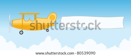 Cartoon Illustration of Airplane With Blank Banner - stock vector