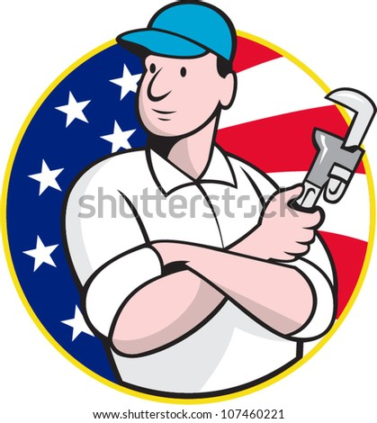 Cartoon illustration of an American plumber worker repairman tradesman with adjustable monkey wrench set inside circle with stars and stripes flag.