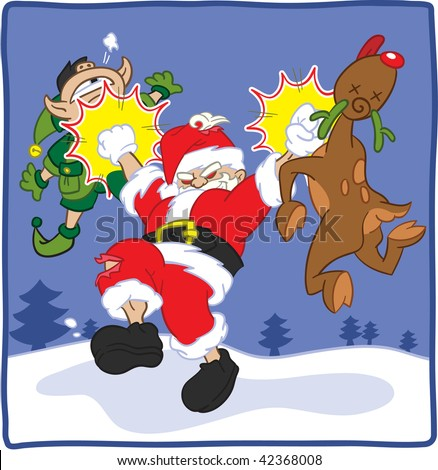 Cartoon illustration of an evil Santa Claus punching Rudolph and elf - stock vector