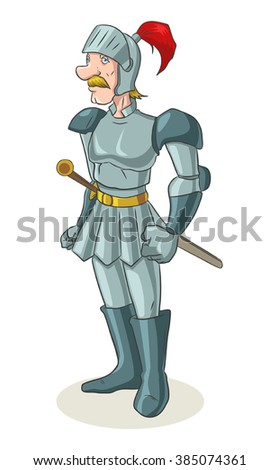 Cartoon illustration of an old medieval knight
