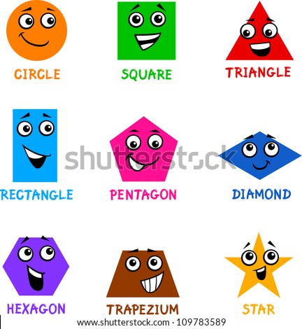 Cartoon Illustration of Basic Geometric Shapes Comic Characters with Captions for Children Education - stock vector
