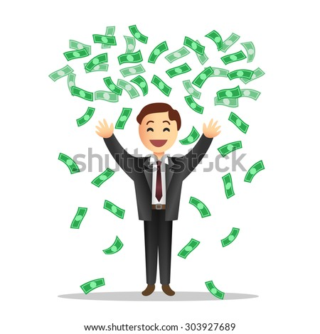 Cartoon illustration of businessman with the falling notes. Vector