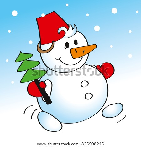 Cartoon illustration of cheerful snowman carrying a Christmas tree. Image for postcards and greetings. - stock vector