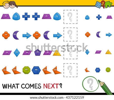 Cartoon Illustration of Completing the Pattern Educational Activity Task for Preschool Children with Geometric Shapes