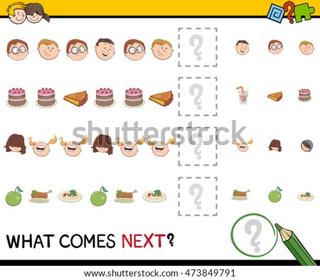 Cartoon Illustration of Completing the Pattern Educational Activity Task for Preschoolers with Kids and Food Objects