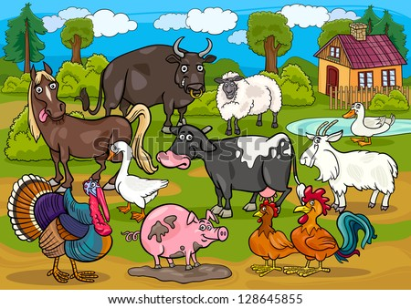Cartoon Illustration of Country Scene with Farm Animals Livestock Big Group - stock vector