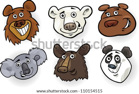 Cartoon Illustration of Different Funny Bears Heads Set: Grizzly, Polar Bear, Panda, Koala and American Black Bear - stock vector