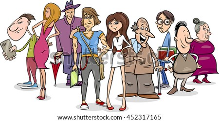 Cartoon Illustration of Different People Characters Group